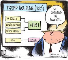 Political Cartoon U.S. President Trump tax reform brackets wealthy