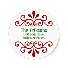 Personalized Christmas Address Labels Round Stickers