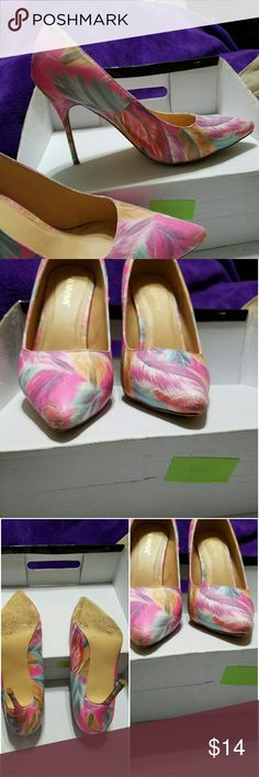"""Pink watercolor heels Colorful heels, 4"""" high. Worn out on the town once. Pretty, dress up jeans or cute dress. These are in decent shape and come with box. Feel free to make an offer. Thanks for looking! Lilliana Shoes Heels"""
