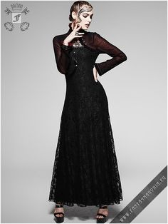 Memoir Noir - long dress. Code: Q-243 Elaborate Romantic Gothic maxi dress with bolero by Punk Rave | Gothic, Steampunk, Metal, Punk, Lolita, Fetish fashion style e-shop. Punk Rave, RQ-BL, Fantasmagoria clothing brands