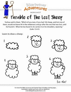 Enjoy our free Bible worksheet: Parable of the Lost Sheep. Learn how to draw a sheep. Fun for kids to print and learn more about the Bible. Bible Story Crafts, Bible Stories For Kids, Bible School Crafts, Bible Crafts For Kids, Preschool Bible, Bible Study For Kids, Bible Lessons For Kids, Bible Activities, Jesus Stories