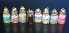 mini bottle charms | PICK1 mini glass bottle filled with sprinkles by MoldsNCharms
