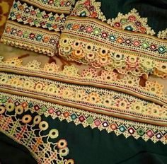 Embroidery Dress, Embroidery Stitches, Hand Embroidery, Sleeve Designs, Dress Designs, Balochi Dress, Kurti Sleeves Design, Kutch Work, Gold Jewellery Design