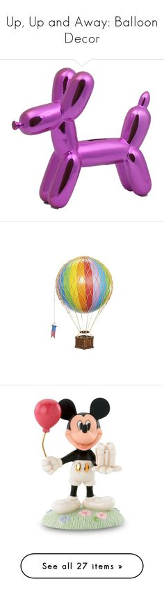 """""""Up, Up and Away: Balloon Decor"""" by polyvore-editorial ❤ liked on Polyvore featuring balloondecor, home, home decor, small item storage, pink piggy bank, dog home decor, ceramic coin banks, dog piggy bank, whimsical home decor and decorative accessories"""