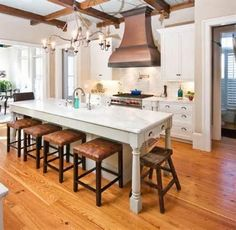 narrow kitchen island - Search (wouldn't fit our kitchen, but I pinned it because it shows how much space you would need for knees.)
