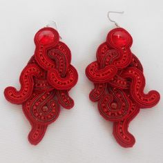 Soutache Earrings Red Passion