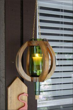 Handcrafted Hanging Wine Bottle Candleholder/Vase with Wooden Basket, Wine Bottle Decor, Wine Bar Decor, Wine Lovers Gift, Porch Lighting