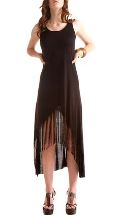 What a great idea--alter a circle dress pattern with fringe. I can so easily make this... Blank Maxi Fringe Dress