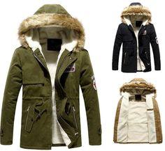 manteau de fourrure col vert armée militaire»manteaux outwear veste homme