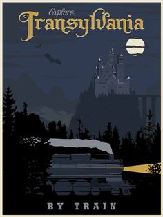 Steve Thomas [Illustration]: Transylvania by Train vintage travel poster - just in time for Halloween Stallone Rocky, Steve Thomas, Train Posters, Tourism Poster, Retro Poster, Vintage Art Prints, Vintage Travel Posters, Pictures Images, Vintage Advertisements