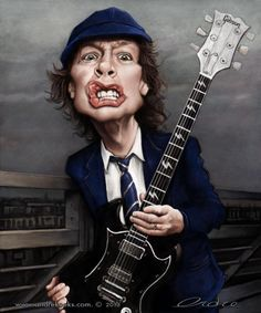 Angus Young caricature by Andre Koekemoer - Digital Artist Angus Young, Funny Caricatures, Celebrity Caricatures, Heavy Metal, Cartoon Faces, Funny Faces, Hard Rock, Pochette Cd, Caricature Drawing