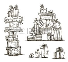 Piles of presents Doodle heaps of gift boxes Vector illustration..