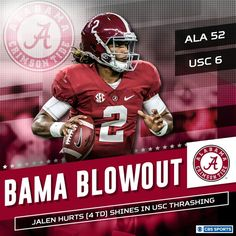 BAMA BLOWOUT with JALEN HURTS leading as QB!