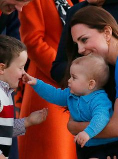 The real star of the tour! Prince George enjoyed meeting VIPs and their families as the Cambridges rolled in to Canberra on Sunday evening, including MP Andrew Leigh's son, Theodore. Read more at http://www.womanandhome.com/galleries/news-and-entertainment/36061/5/0/kate-middleton-royal-tour-2014#yqw5o1mmYD7Me1er.99