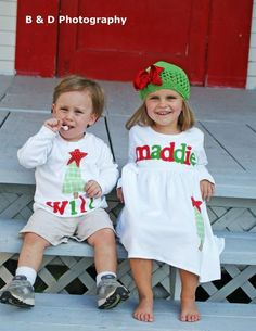 Christmas Brother Sister Sibling Set -  Christmas Applique Outfits  - Great for Fall Photo Shoot or Family Pictures