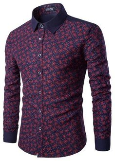 Camisa Casual Fashion en Dos Colores con Detalles - Floral - en Vino y Azul Oscuro