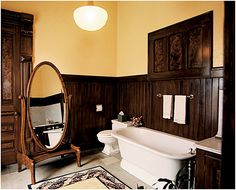 Sarah's bedroom suite in the Carson Mansion, Eureka California. I think I would enjoy a bath more, if the big mirror was turned away from the bathtub area.