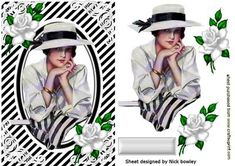 Beautiful Edwardian Lady in Black white with White Roses on Craftsuprint designed by Nick Bowley - BEAUTIFUL EDWARDIAN LADY IN BLACK/WHITE WITH WHITE ROSES, Makes a pretty card, lots of others to see, also matching insert - Now available for download!