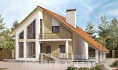 170-009-П Проект двухэтажного дома мансардой и гаражом, недорогой загородный дом из бризолита