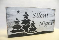 Silent Night Wooden Sign Christmas Quote Word Art by iPam on Etsy, $18.00