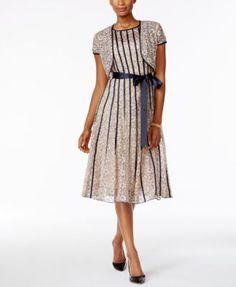 7a03e44a4cc SL Fashions Lace Midi Dress and Jacket   Reviews - Dresses - Women - Macy s
