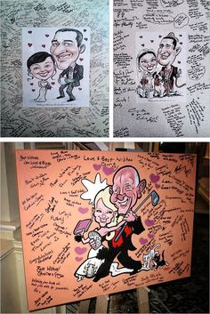 Bring life to your party celebration. You may wanna try hiring a caricature artist to draw the portrait of the bride and groom and let the wedding guest sign on it as they arrive. Wedding caricatures can be drawn up in full color or black line style.