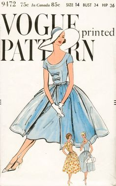 1950s 50s Flared Skirt Dress Pattern Bust 34 Cocktail Party Sundress Day or…