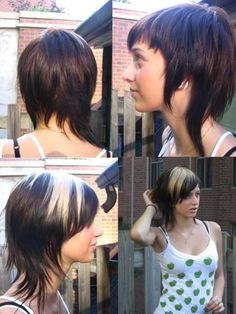 Modern Mullet Emo Girl Hairstyles pictures This cut works beautifully on fine hair. It's a short, edgier twist on layers that give you more volume. Hair that's too thick ends up looking like a mullet. Short Emo Hair, Short Hair Dont Care, Very Short Hair, Short Hair Styles, Short Bangs, Edgy Hair, Emo Girl Hairstyles, Short Hairstyles For Women, Cool Hairstyles