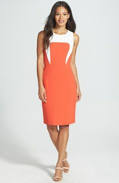 rachel roy colorblock sleeveless crepe sheath dress -- comes in orange, yellow, and navy {40% off during Nordstrom's Half Yearly Sale!}