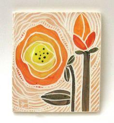 ceramic art tile orange flowers. $24.00, via Etsy.