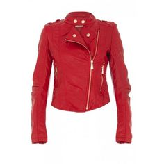 Red Pvc Zip Biker Jacket ❤ liked on Polyvore  I WANT THIS!  IVE BEEN LOOKING FOR SO LONG!