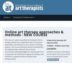 NEW COURSE >> Online art therapy approaches & methods >> February 2022: This course is open to qualified art therapists and art therapy trainees who would like to learn more about approaches and methods to use in online art therapy practice. This course introduces ethical considerations for helping create a safe and secure virtual environment, web-based digital art media programs to incorporate into individual and group art therapy work, and how to implement these art-based tools therapeutically Online Art, Books Online, Digital Media, Digital Art, Community Boards, Group Art, Art Therapy, Online Courses, February