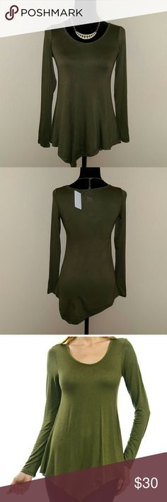 **CCO SALE** NWT Classy Asymmetric long sleeve This top is Uber soft and not heavy at all. Great for work or going out. Beautiful olive green color. Tops