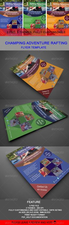 Champing Adventure Rafting Flyer Template  #GraphicRiver         champing rafting adventure this flyer template I created by using the concept of a pleasant vacation and spur andernalin rafting lovers to conquer the terrain, and the flyer is intended to provide information and carry out promos at a travel agency that is growing, with a full company profile information and profile photo area was in the package holiday,  Features : 3 PSD files CMYK Fully Customizable A4 Size (30.3×21,6cm with…