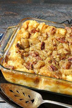 pecan pie bread pudding; super rich and gooey; french bread, milk, half and half, eggs, sugar, butter, vanilla, brown sugar, and pecans