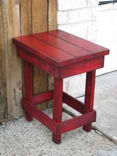 Sale Medium RED End Table, Side Table, Nightstand, Other colors available! Reclaimed Wood Furniture, Diy Pallet Furniture, Furniture Projects, Rustic Furniture, Painted Furniture, Balcony Furniture, Furniture Buyers, Western Furniture, Furniture Dolly