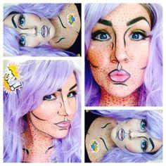 Pop art makeup. Purple wig. Halloween. Comic book character.