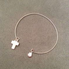 Bracelet croix en nacre et coquille st jacques