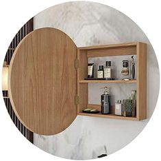 Mirror cabinet Bathroom Round Wooden Bathroom Wall-Mounted Rack Bedroom Dressing Table Wall-Mounted Mirror with Storage Cabinet Beautiful and Durable Bathroom Mirror Cabinet, Mirror Cabinets, Bathroom Wall, Small Bathroom, Wall Mounted Bathroom Cabinets, Vanity Mirrors, Wall Storage Shelves, Storage Mirror, Round Wooden Mirror
