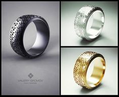 "Valeriy Gromov  ""Low profile Racing Tire"" Ring (black, yellow & white gold)"