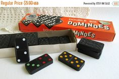 Full set 28 colorful double six dominoes in original box. colorful and embossed with a neat design that says Power Have some fun. Play a game or Vintage Vogue Fashion, Etsy Vintage, Vintage Items, Dinner Party Games, Gift Guide For Him, Have Some Fun, Full Set, Mall, Unique