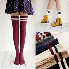 7สีผู้หญิงนักออกแบบแบรนด์แฟชั่นกว่าเข่าถุงเท้าต้นขาสูงหนาน่ารักสาวปริ๊นเซเข่าถุงเท้ายาวสูงp uscard