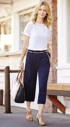 For an afternoon with the girls, chic culottes and bright whites are simple perfection.