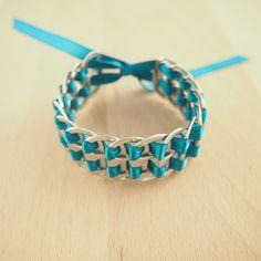Ethchic. Bracelet canettes recyclés TURQUOISE  fait main. Bijoux fait main éthique & chic.