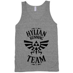 Link has to have some great legs from always running around Hyrule like a crazy person. Throw this shirt on and train hard to protect Hyrule from evil!Hylian Running Team