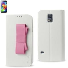 Reiko Wallet Case For Samsung Galaxy S5 White With Pink Bow