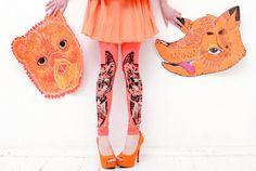 Coral bear fox print leggings