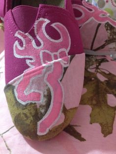 Pink camo with browning symbol. Custom painted shoes by SHOESBYSAM. cHeck out my Facebook page :)