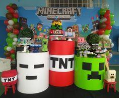 7th Birthday Party Ideas, Minecraft Birthday Party, Baby Boy Birthday, 11th Birthday, Birthday Party Decorations, Minecraft Crafts, Art Minecraft, Minecraft Decorations, Skins Minecraft