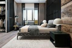 modernes wohnen luxuriöses schlafzimmer mit teppich und gardinen